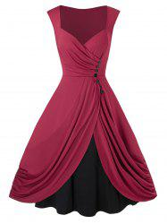 Plus Size Vintage Ruched Sweetheart Neck 1950s Dress -
