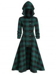 Hooded Plaid Print Button Up Coat and Midi Skirt -