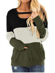Three Tone Cut Out Longline Sweatshirt -