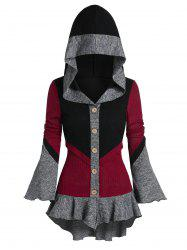 Poet Sleeve Contrast Hooded High Low Cardigan -