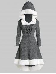 Plus Size Lace Up Faux Fur Hooded Marled Knit Asymmetric Dress -