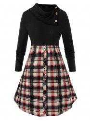 Plus Size Mock Button Checked Sweater -