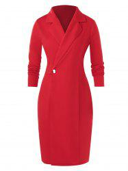 Plus Size Notch Lapel Bodycon Long Sleeve Dress -