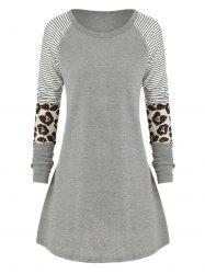 Plus Size Striped Leopard Raglan manches T -