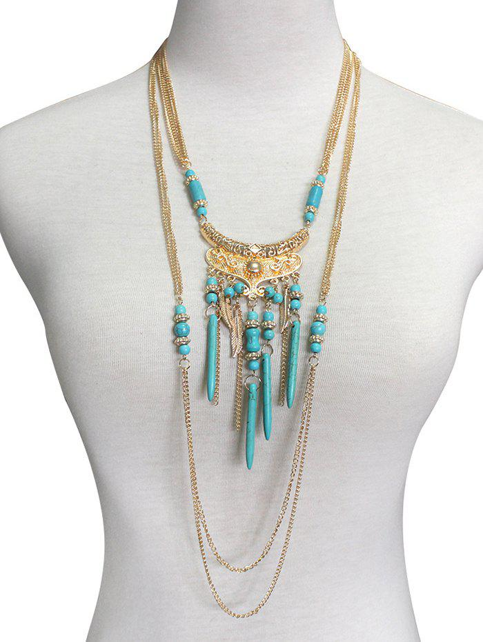 Affordable Boho Artificial Turquoise Feather Layered Necklace