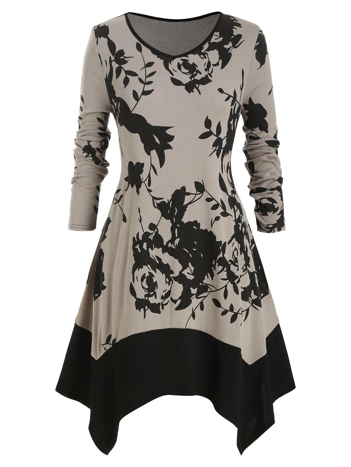 Plus Size Flower V Neck Mouchoir Robe Noir L