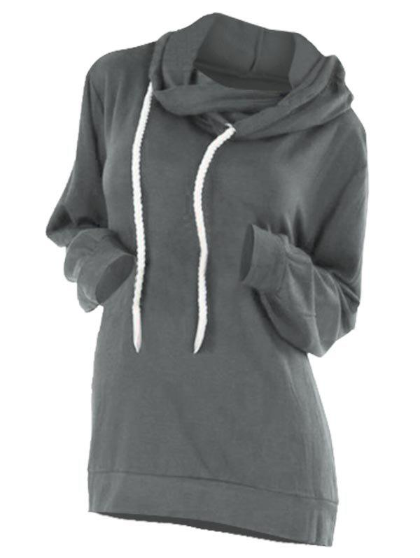 Outfit Drawstring Overlap Plain Plus Size Hoodie