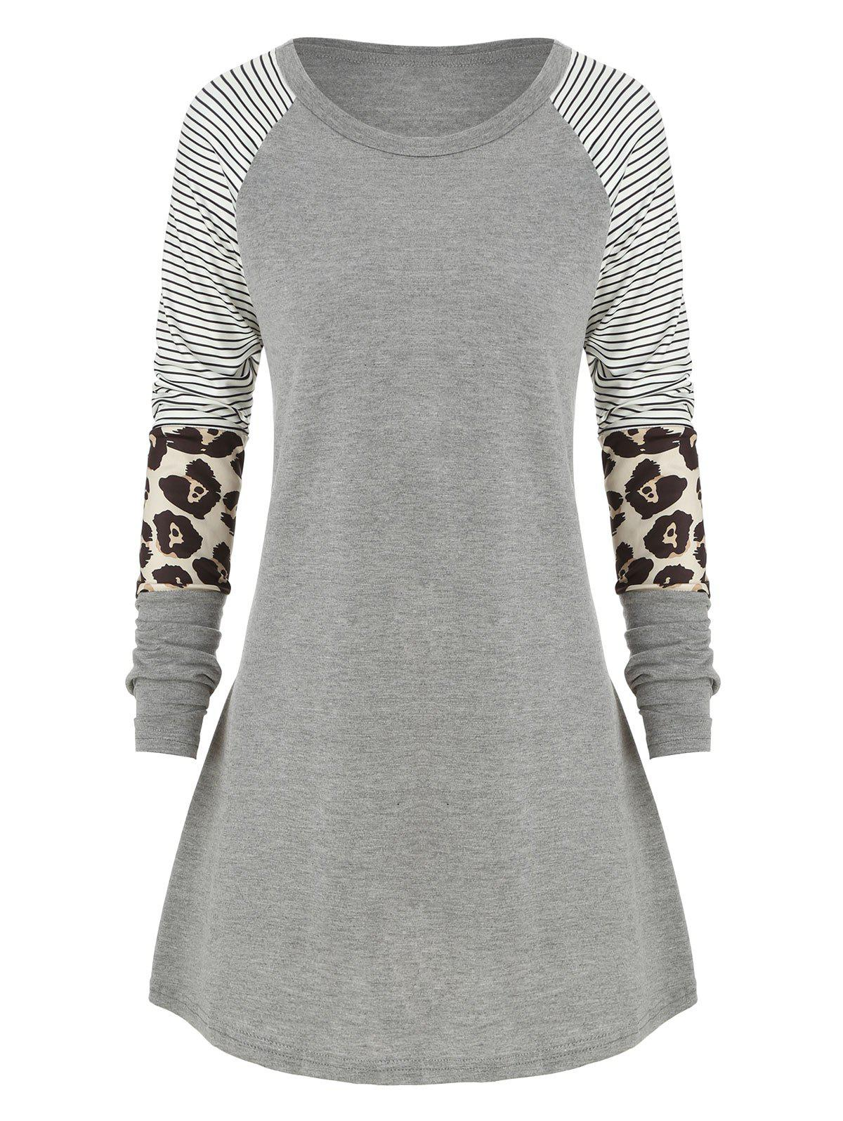 Plus Size Striped Leopard Raglan manches T