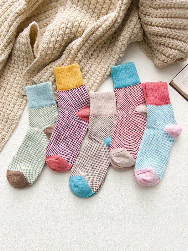 Outfits 5 Pairs Crochet Pattern Crew Length Socks Set