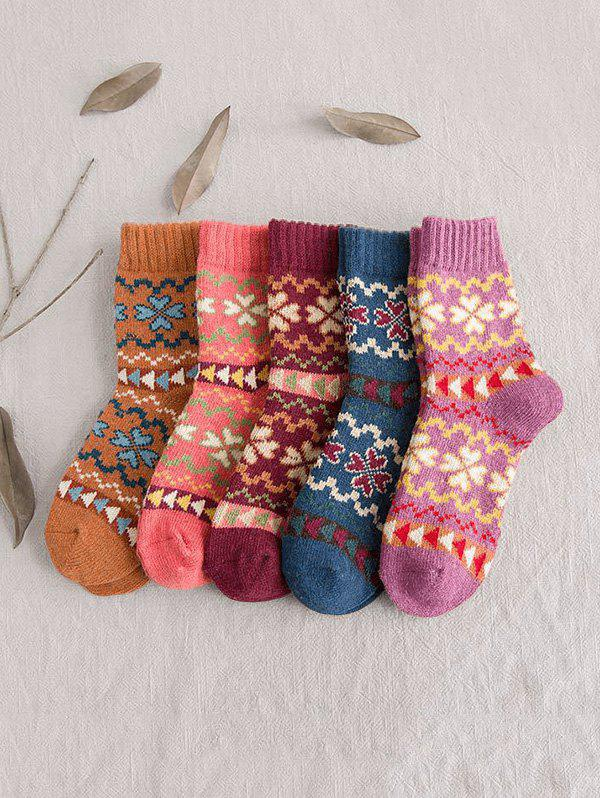 Shops 5 Pairs Clover Pattern Crew Length Socks Set