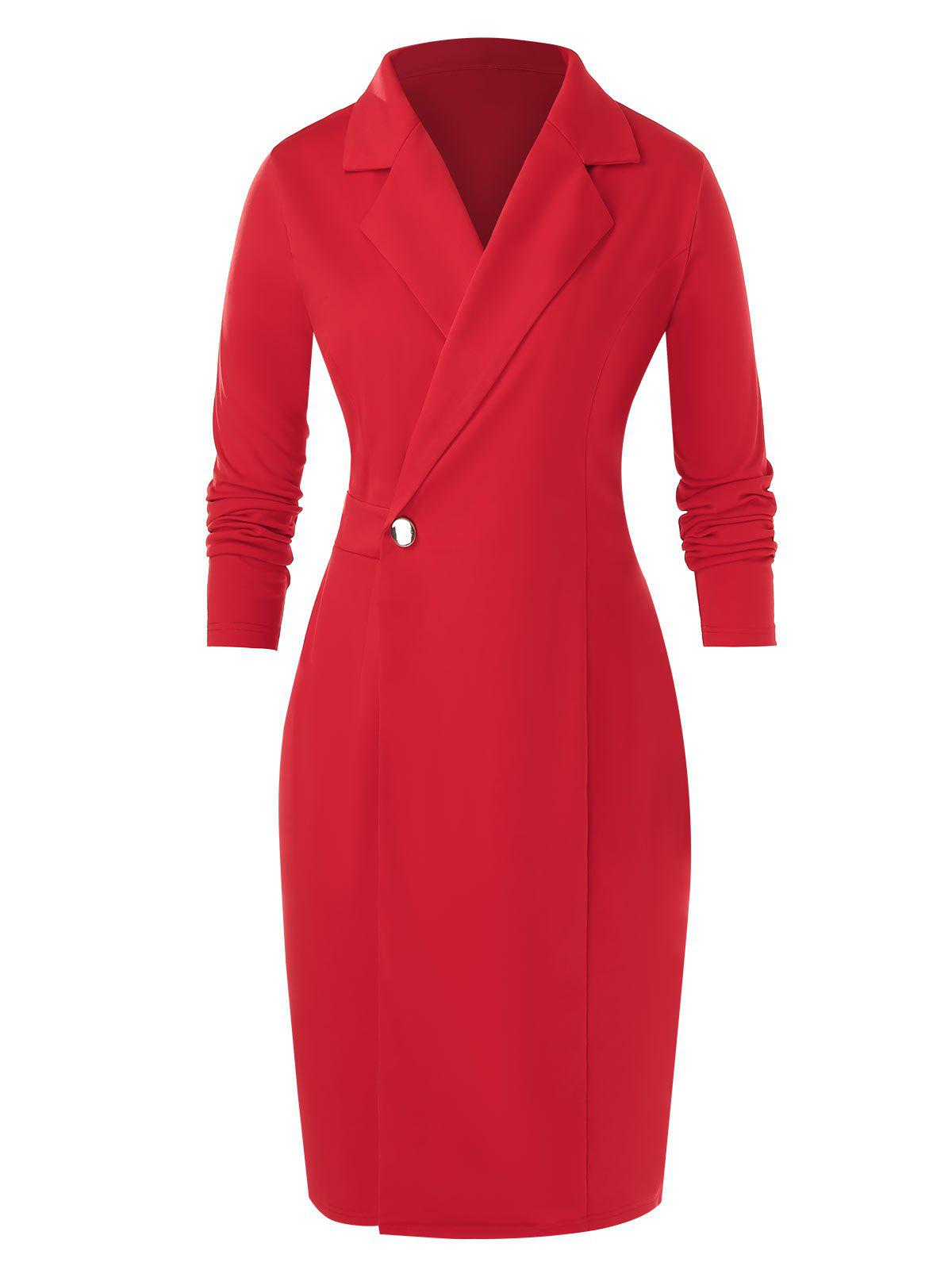 Store Plus Size Notch Lapel Bodycon Long Sleeve Dress
