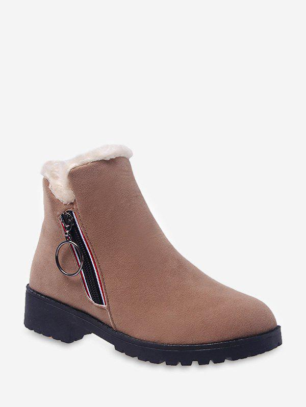 New O-ring Pull Faux Fur Trim Ankle Boots