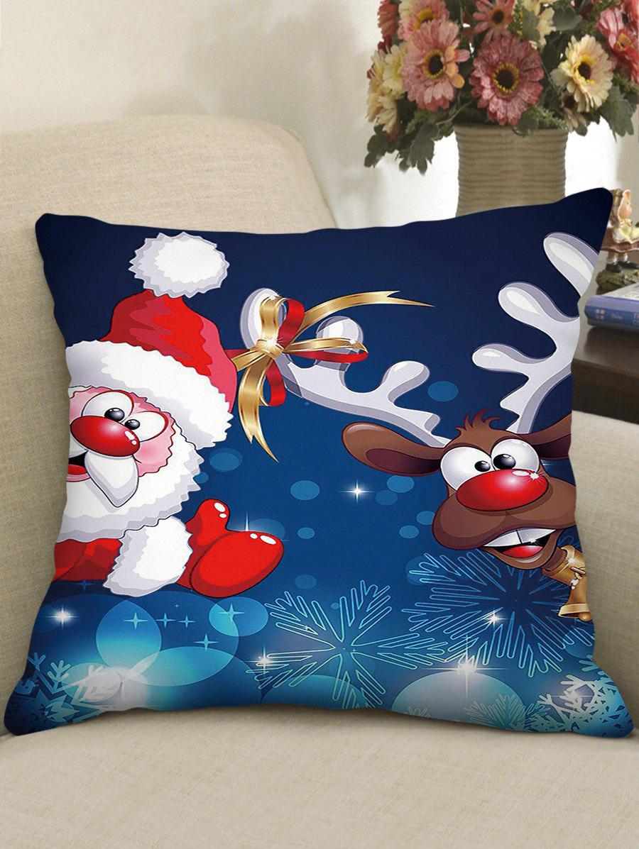 Shop Christmas Cartoon Santa Claus Elk Print Decorative Pillowcase