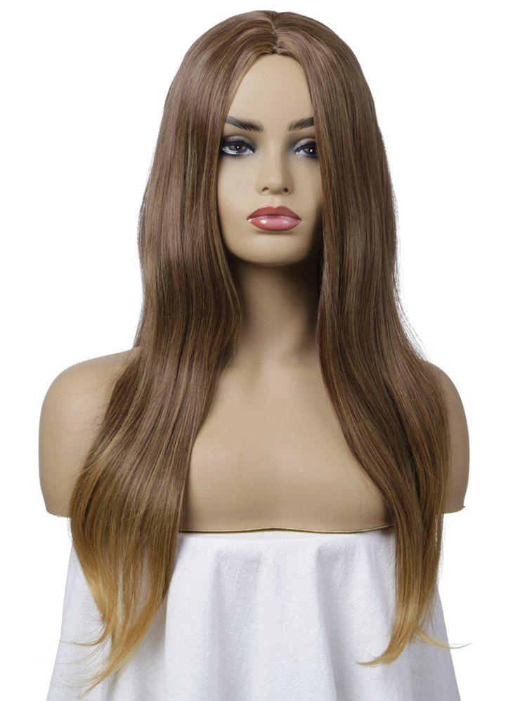 Fancy Long Synthetic Center Part Straight Wig