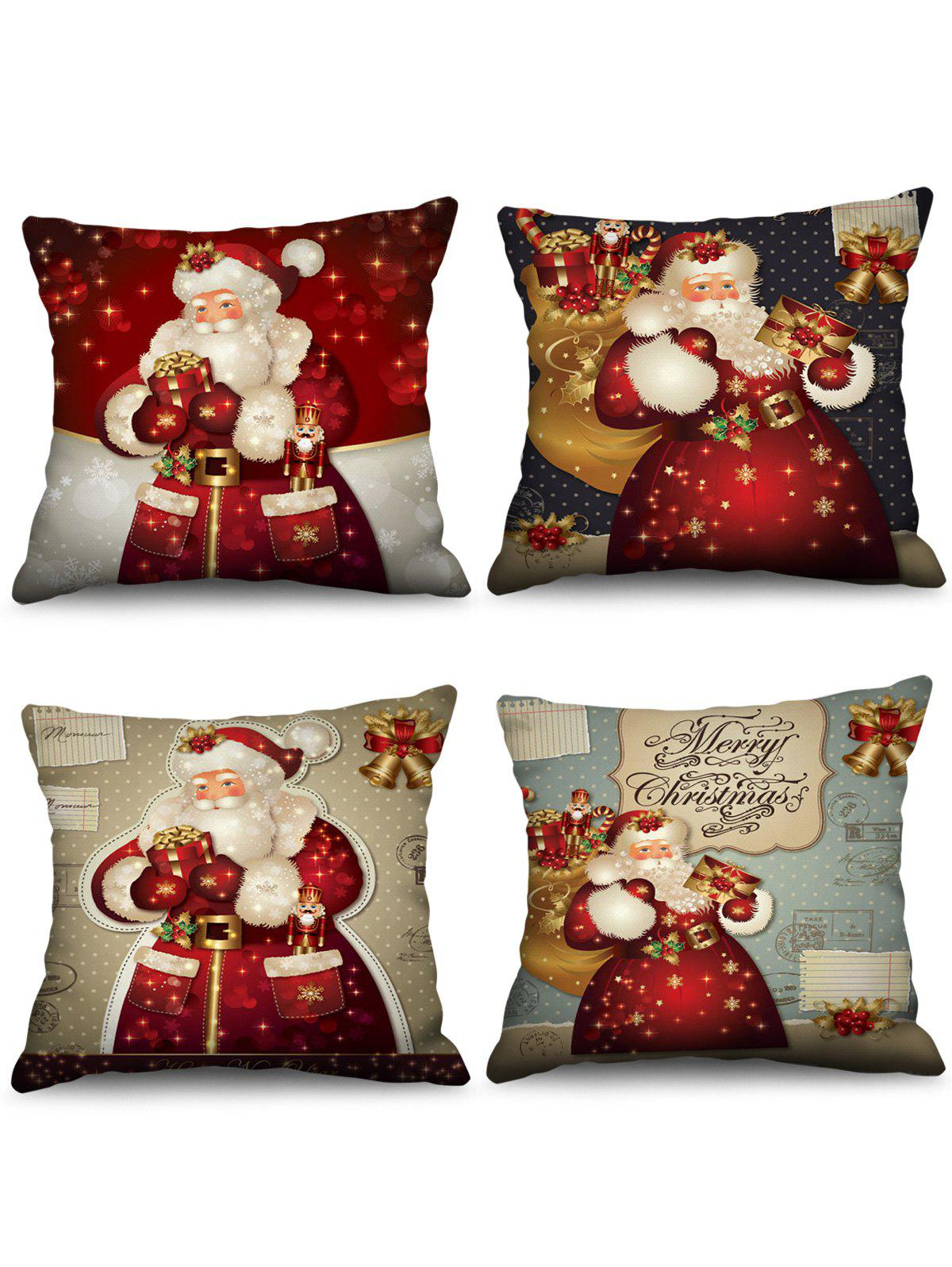 Fancy 4 Pcs Christmas Santa Claus Gifts Print Decorative Pillowcases