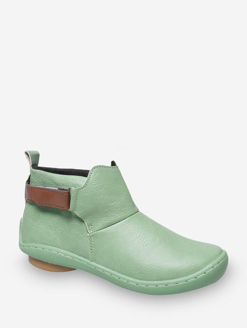 Unique Hook Loop PU Leather Round Toe Boots