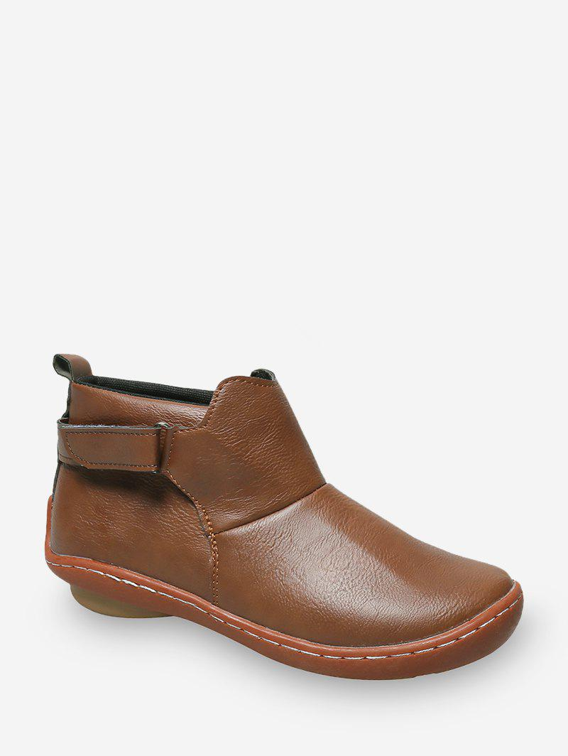 New Hook Loop PU Leather Round Toe Boots