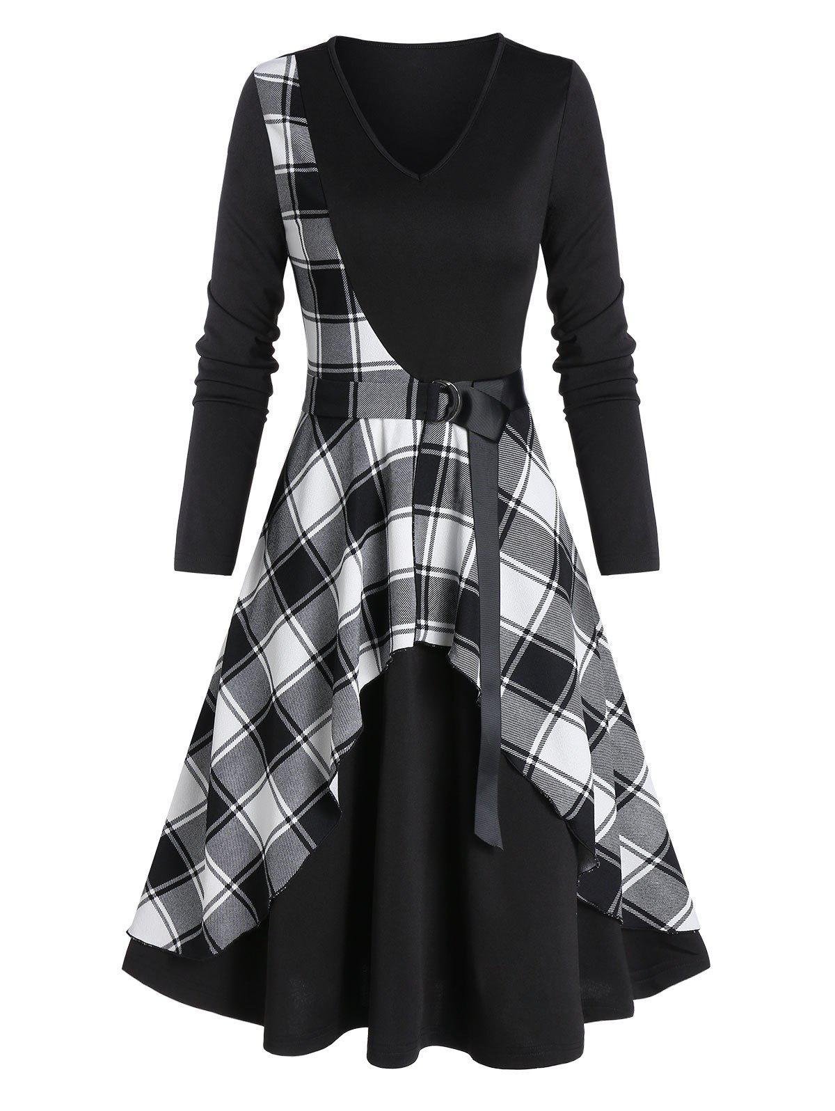 Buy Checked Panel Belted Midi A Line Dress