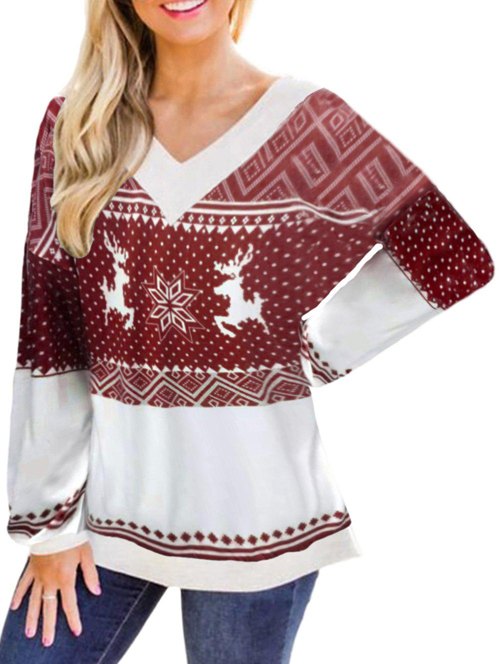 Fashion Snowflake Reindeer Christmas Loose Sweatshirt