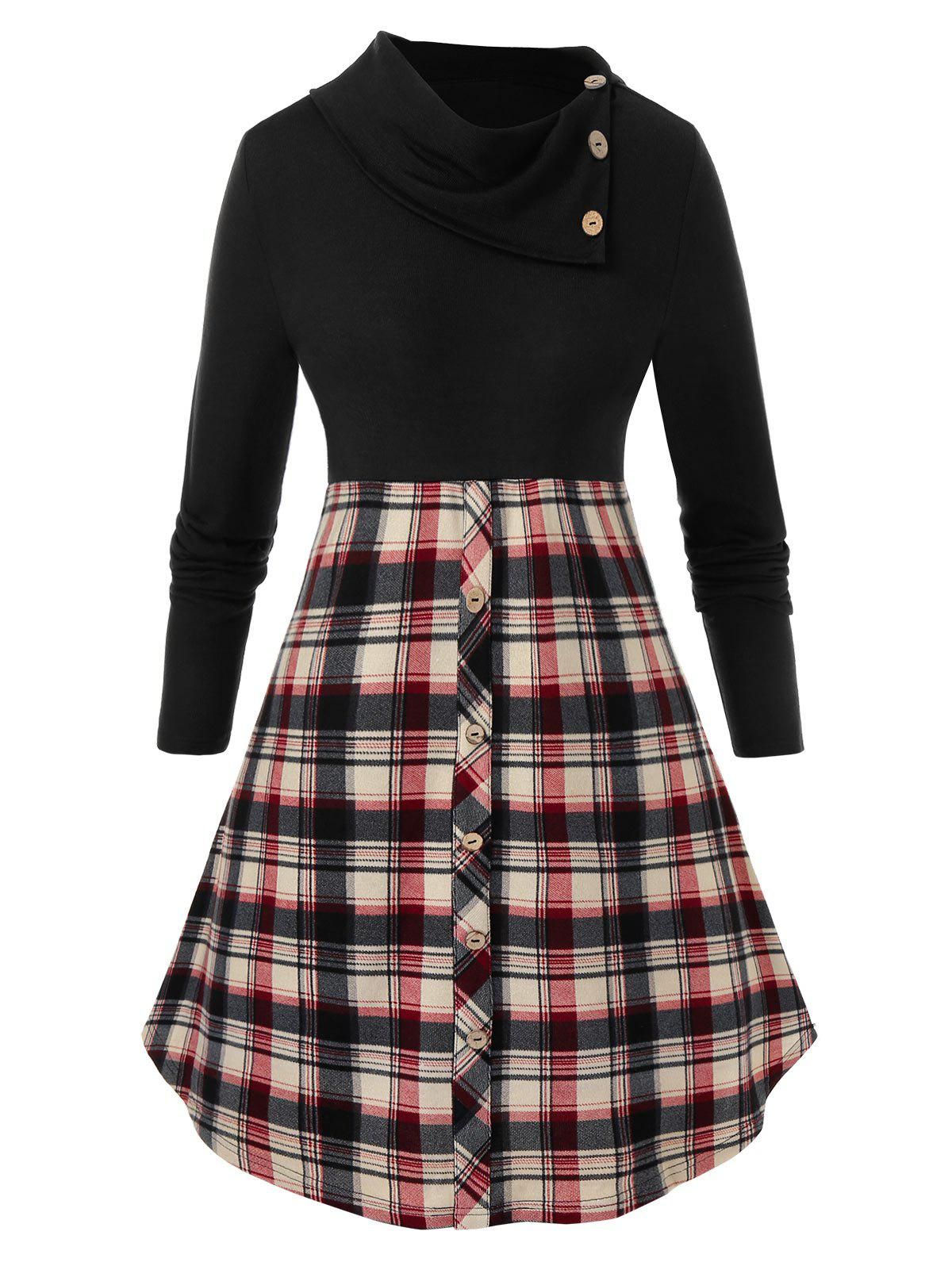 Discount Plus Size Mock Button Checked Sweater