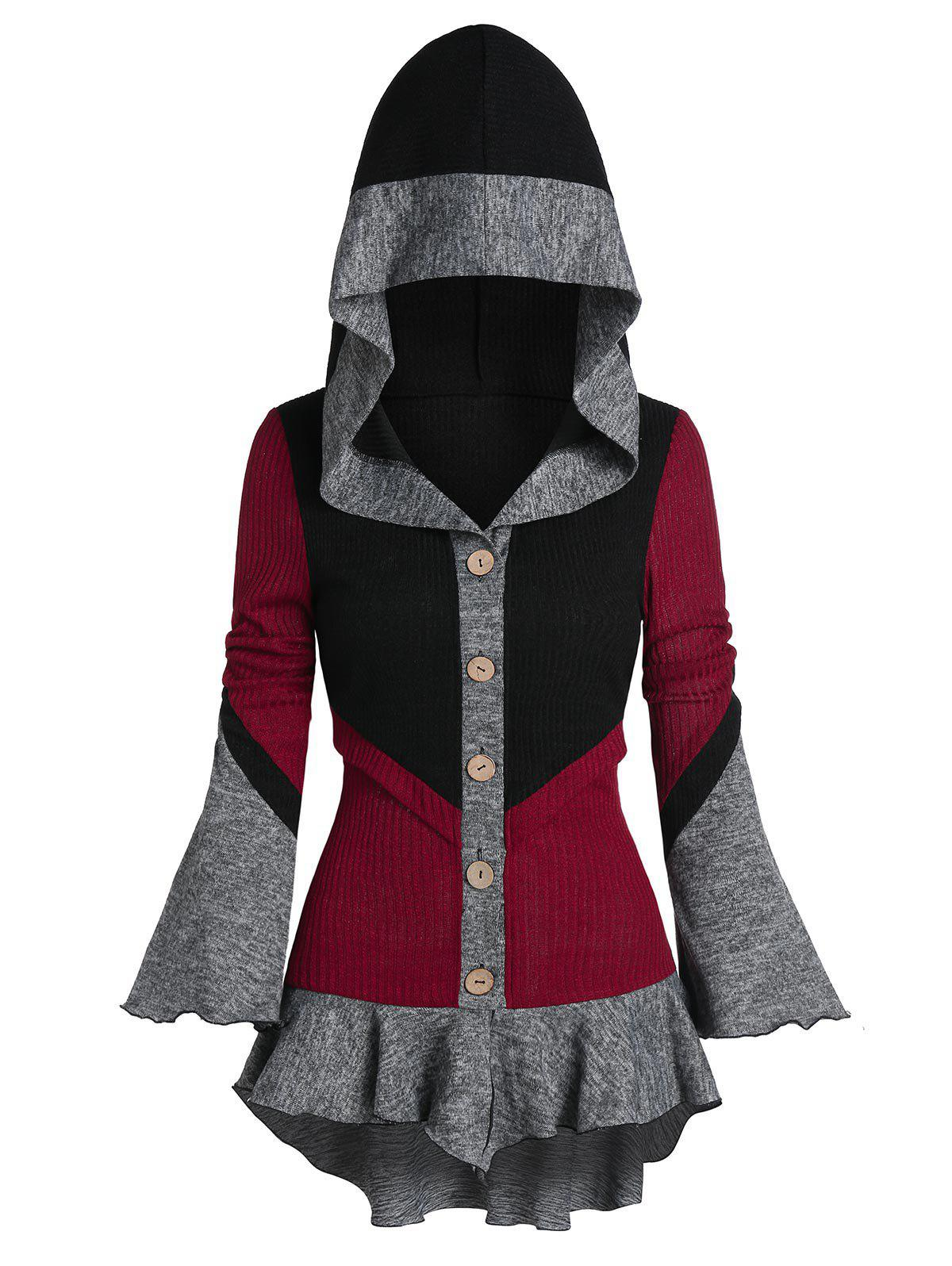 Trendy Poet Sleeve Contrast Hooded High Low Cardigan