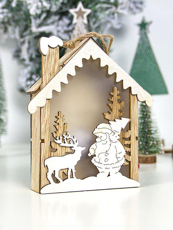 Outfit Christmas Decoration Santa Claus Snowman Elk Wooden House with LED Night Light