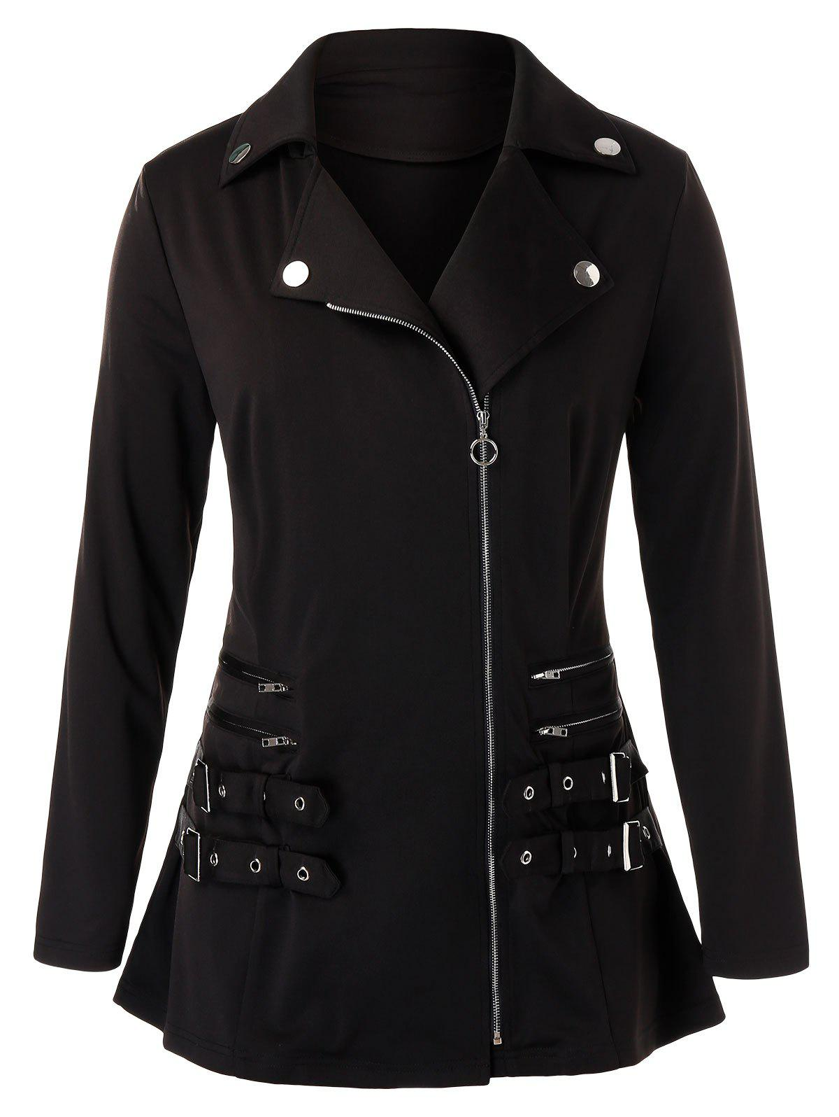 New Plus Size Buckle Zippered Jacket