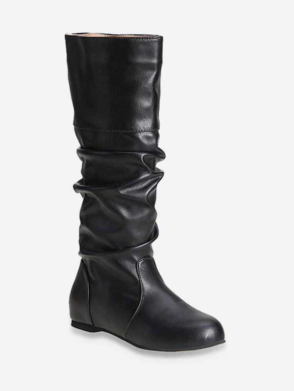 Fashion Solid Color Ruched Knee High Boots