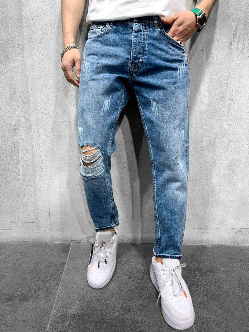 Destroy Wash Scratch Jeans Longs Raides