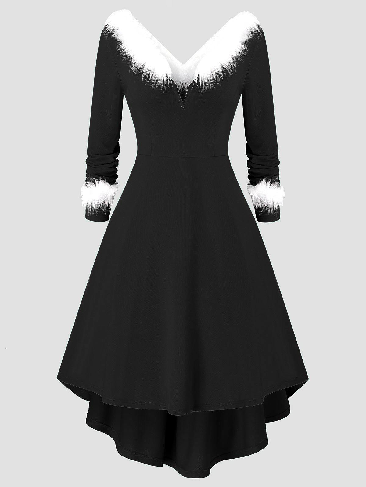 Plus Size Christmas Asymmetrical Faux Fur Panel Knitted Dress