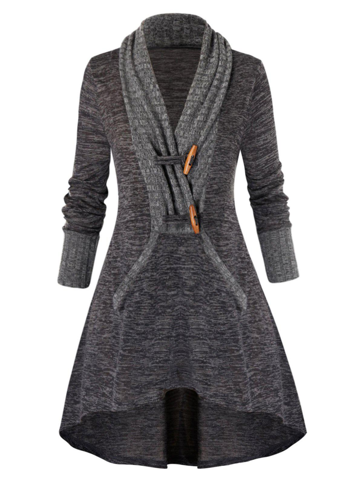 Outfits Plus Size High Low Marled Knitwear