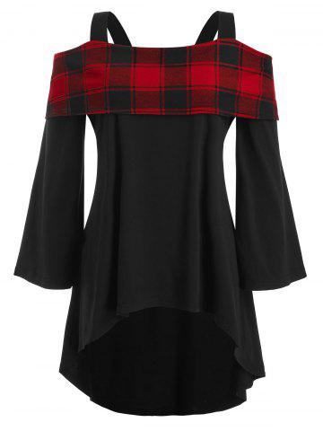 High Low Plaid Overlay Cold Shoulder Plus Size Top