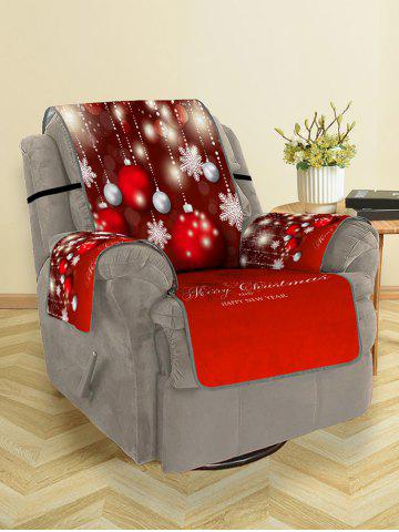 Christmas Balls Snowflake Greeting Pattern Couch Cover - MULTI - SINGLE SEAT
