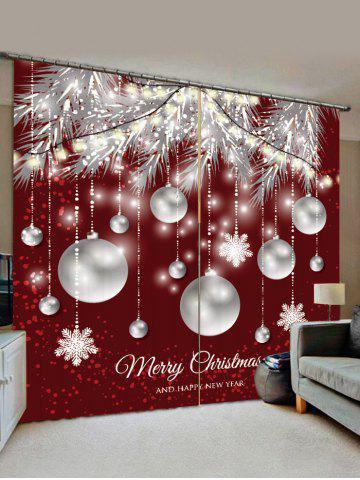 Christmas Snowflake Ball Pattern Window Curtains - RED WINE - W28 X L39 INCH X 2PCS