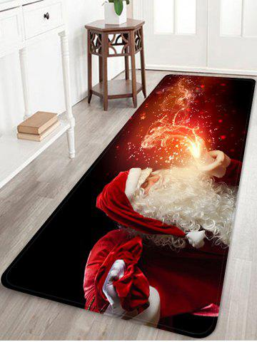 Christmas Santa Claus Patterned Water Absorption Area Rug - RED WINE - W24 X L71 INCH