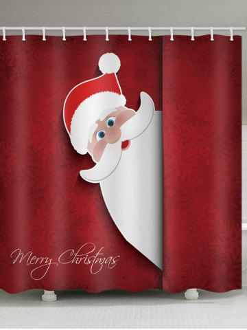Christmas Santa Claus Greeting Snowflakes Print Waterproof Bathroom Shower Curtain - MULTI - W71 X L71 INCH
