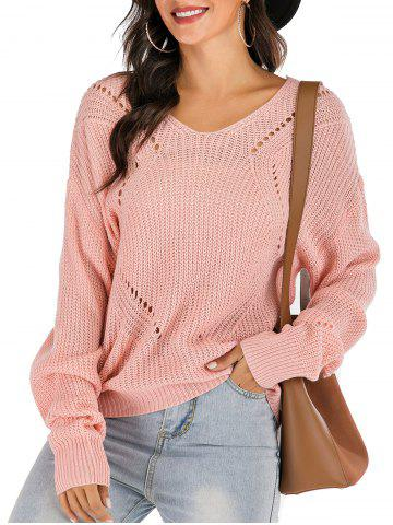 Ribbed Drop Shoulder Lace-up Open Knit Sweater