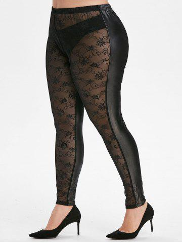 See Thru Lace Front Faux Leather Plus Size Leggings