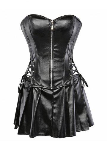 Lace Up Pleated Faux Leather Corset Set