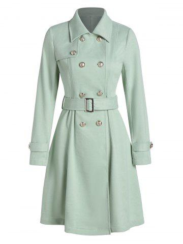 Double Breasted Belted Wool Blend Skirted Coat