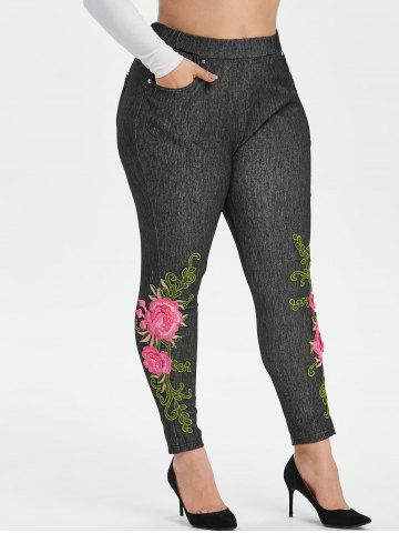 High Waisted Pockets Floral Applique Plus Size Skinny Pants