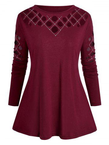 Plus Size Studded Hollow Out Long Sleeve Tee - from $19.49