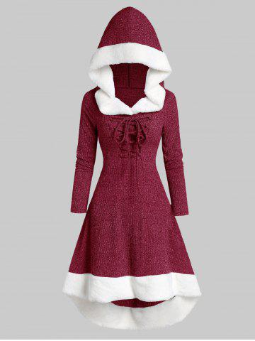 Plus Size Lace Up Faux Fur Hooded Marled Knit Asymmetric Dress - RED WINE - L
