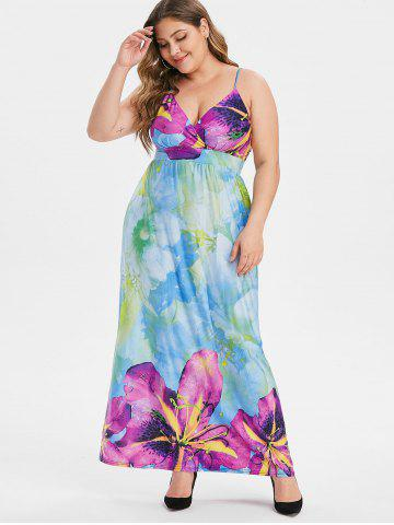 Plus Size Floral Shirred Maxi Surplice Dress