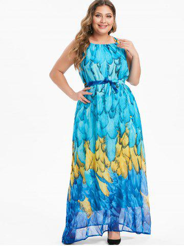 Plus Size Feather Print Belt Maxi Chiffon Dress