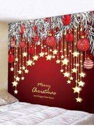 Christmas Balls Stars Greeting Print Tapestry Wall Hanging Art Decoration -