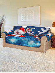 Christmas Santa Claus Elk Sleigh Pattern Couch Cover -