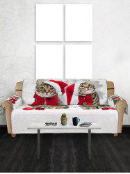 Christmas Cat Hat Balls Pattern Couch Cover -