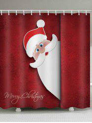 Christmas Santa Claus Greeting Snowflakes Print Waterproof Bathroom Shower Curtain -