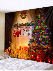 Christmas Tree Fireplace Candles Print Tapestry Wall Hanging Art Decoration -